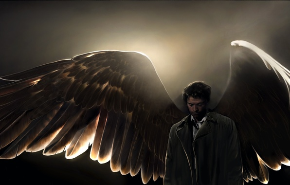 Фото обои supernatural, amanda tolleson, Castiel, angel, art