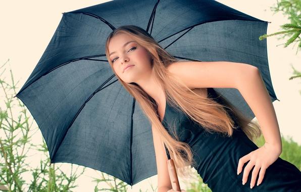 Картинка волосы, зонт, платье, блондинка, girl, dress, umbrella, hair, blonde, Ossia