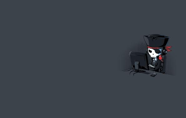 Картинка компьютер, череп, пират