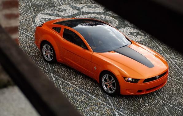 Фото обои Ford, 149, giugiaro concept, mustang, мустанг, брусчатка