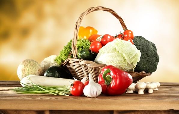 Картинка корзина, грибы, перец, овощи, помидоры, капуста, огурцы