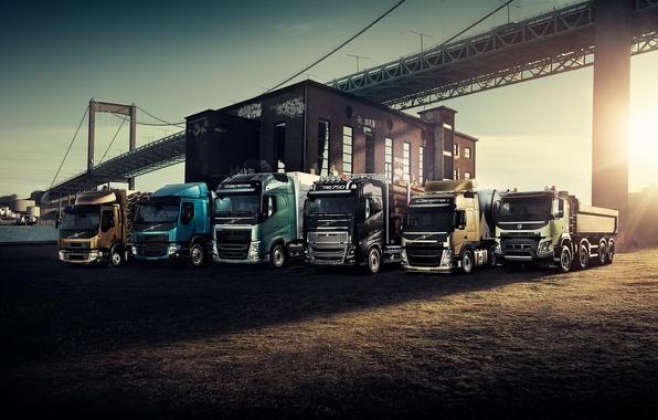 Картинка Volvo, блик, bridge, front, трейлер, тягач, Trucks, модельный ряд, самосвал