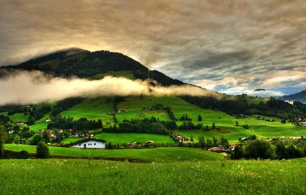 Картинка небо, трава, облака, деревья, пейзаж, горы, природа, green, дома, grass, forest, зеленая, sky, trees, landscape, …