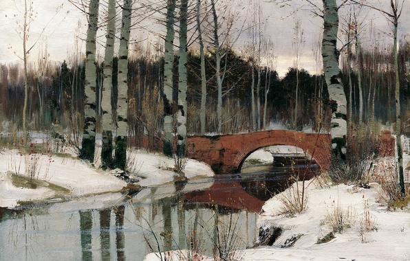 Картинка лес, небо, вода, снег, деревья, пейзаж, мост, картина, живопись, берёзы, Берггольц, оттепель в Гатчине