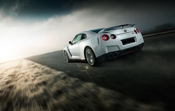 Картинка GTR, Nissan, Car, Speed, White, Norway, R35, Sport, Road, Rear