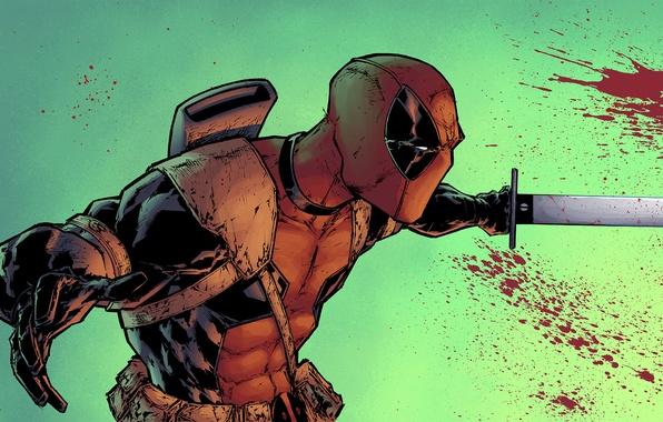 Картинка кровь, меч, маска, злодей, art, Deadpool, Marvel Comics, Wade Wilson