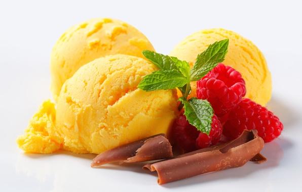 Картинка ягоды, малина, шоколад, мороженое, десерт, сладкое
