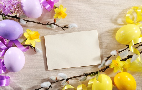 Картинка цветы, яйца, Пасха, верба, flowers, нарциссы, spring, Easter, eggs