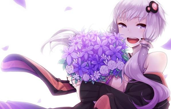Картинка девушка, цветы, улыбка, букет, аниме, лепестки, слезы, арт, микрофон, vocaloid, вокалоид, Yuzuki Yukari