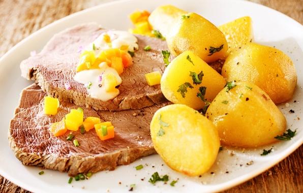 Картинка зелень, масло, еда, размытость, морковь, соус, background, ням-ням, боке, блюдо, специи, картошка, горячая, приправы, картофель, …