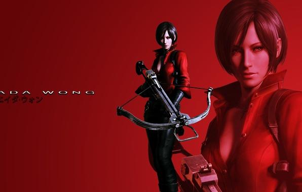 Картинка красный фон, Обитель зла, Resident Evil 6, ада вонг, Ada Wong