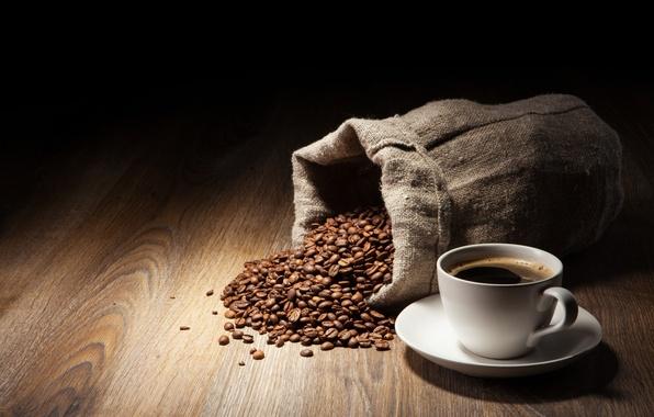 Картинка стол, дерево, кофе, зерна, чашка, мешок