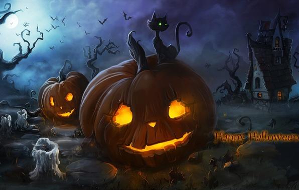 Картинка кот, ночь, туман, огонь, праздник, луна, свечи, тыквы, домик, летучие мыши, хэллоуин, горящие, обои от …
