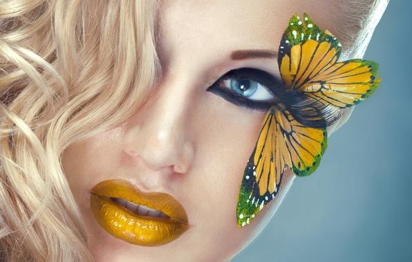 Картинка глаза, взгляд, девушка, лицо, ресницы, бабочка, модель, волосы, желтые, макияж, блондинка, губы
