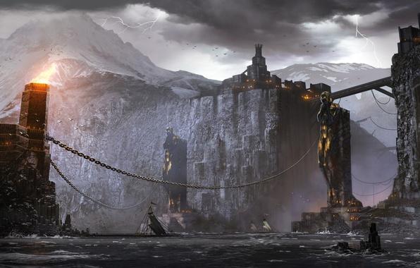 Картинка гроза, снег, горы, город, огни, скалы, пламя, молнии, чайки, корабли, цепи, статуи, киркволл, dragon age …