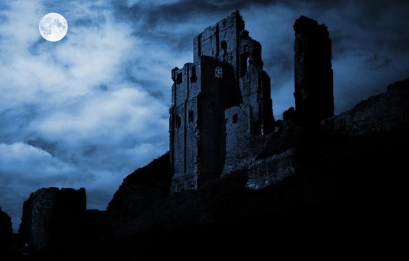 Картинка ночь, луна, силуэт, развалины, крепость