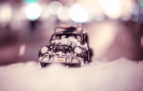 Картинка зима, авто, макро, снег, модель, игрушка, Citroen, съемка, машинка, сугроб, toy, photo, photographer, миниатюра, моделька, …