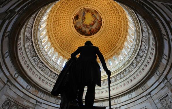 Картинка Вашингтон, статуя, США, Капитолий, ротонда, округ Колумбия, Джордж Вашингтон