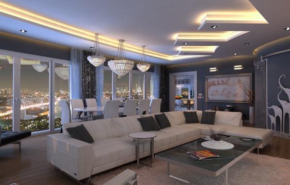 Картинка дизайн, стиль, комната, мебель, вид, интерьер, картина, освещение, окно, ночной город, Стамбул, Istanbul