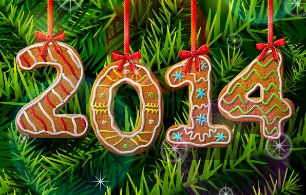 Картинка рисунок, елка, Новый год, ленточки, 2014