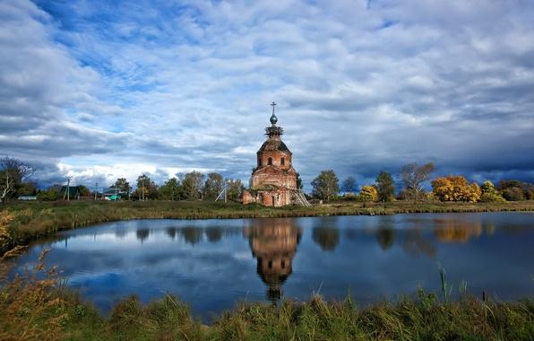 Картинка небо, озеро, храм