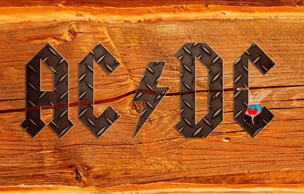 Картинка буквы, муха, дерево, надпись, молния, текстура, группа, железо, hard rock, ac/dc, эйси диси