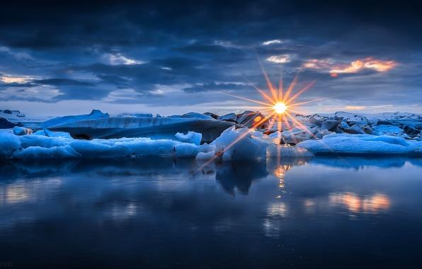Картинка лед, зима, море, небо, вода, солнце, облака, лучи, снег, закат, природа, ice, sky, sea, nature, …