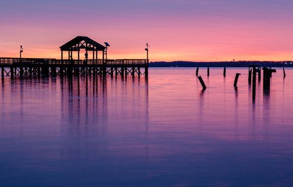 Картинка небо, закат, оранжевый, озеро, парк, отражение, вечер, розовое, пирс, Вирджиния, опоры, США, мостик, сиреневое, штат ...
