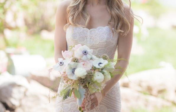 Картинка девушка, цветы, букет, платье, невеста, свадебный