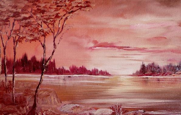 Картинка деревья, река, нарисованный пейзаж