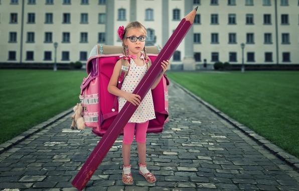 Картинка девочка, карандаш, школа