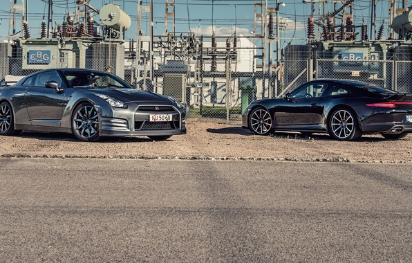 Картинка 911, Porsche, Nissan, GT-R, порше, ниссан, Carrera, 2015