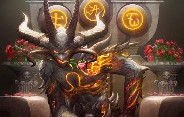 Картинка цветок, огонь, розы, демон, арт, рога, трон, букеты, galaxy saga