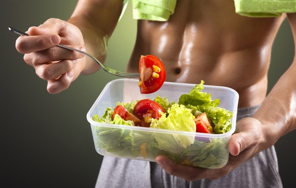 Картинка fork, vegetables, abs, perspiration, healthy food