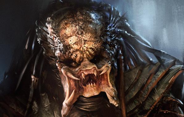 Картинка лицо, хищник, арт, клыки, пришелец, Predator
