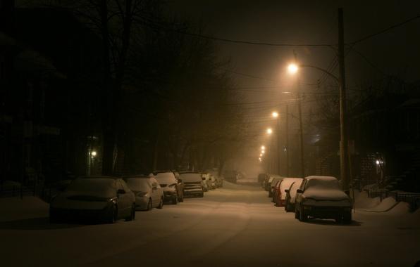 Картинка зима, снег, машины, улица, фонарь