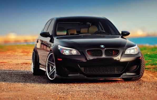 Картинка BMW, black, front, E60