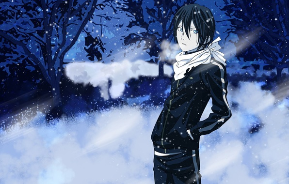 Картинка Аниме, снег., Yato, Noragami