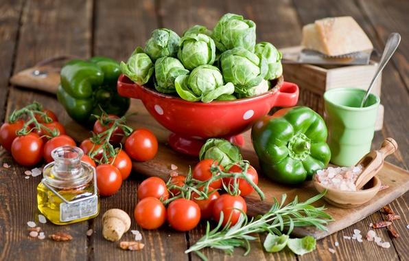 Картинка зеленый, масло, сыр, посуда, перец, овощи, помидоры, капуста, Anna Verdina