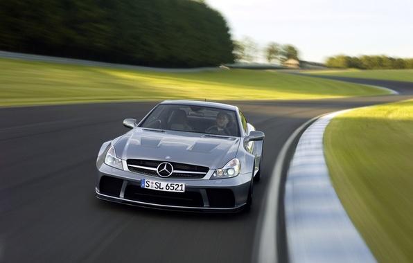 Картинка car, машина, трасса, Mercedes, AMG, передок, track, Black Series, SL 65