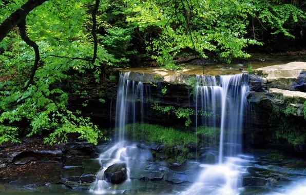 Картинка лето, пейзаж, водопад, красота