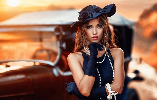 Картинка платье, девушка, боке, макияж, прическа, красотка, автомобиль, шатенка, перчатки, Alessandro Di Cicco, бусы, ретро, шляпа