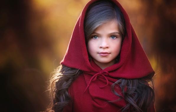 Картинка взгляд, портрет, капюшон, девочка, Red, прелесть, боке