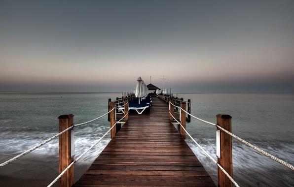 Картинка море, небо, вода, природа, пирс, Пейзаж, sky, sea, landscape, nature, water, 2560x1600, pier