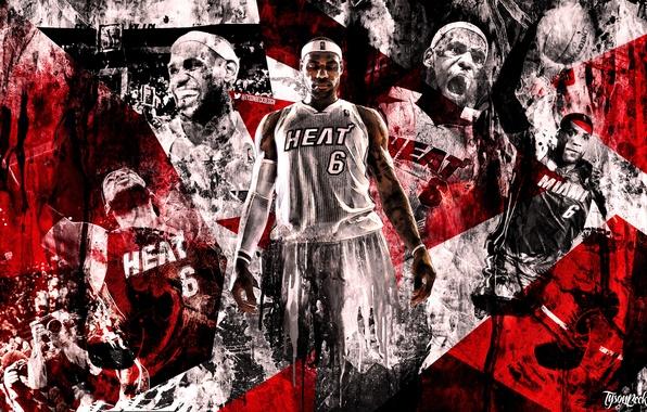 Картинка Баскетбол, Фон, Miami, NBA, LeBron James, Heat, Леброн Джеймс