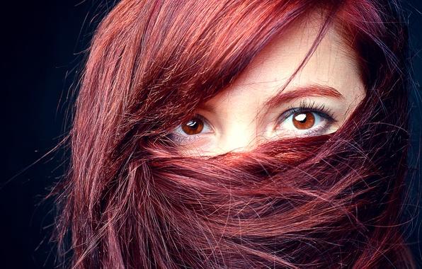 Картинка глаза, взгляд, девушка, лицо, волосы