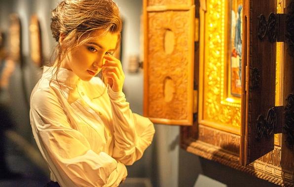 Картинка девушка, икона, молитва, покаяние