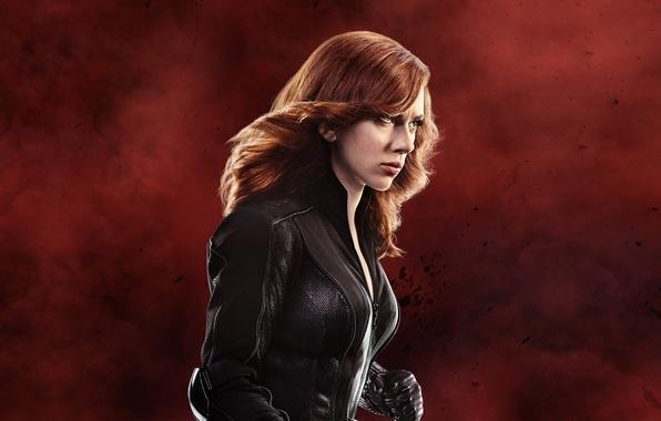 Картинка фон, фантастика, Scarlett Johansson, куртка, прическа, перчатки, рыжая, Скарлетт Йоханссон, комикс, в черном, Black Widow, …
