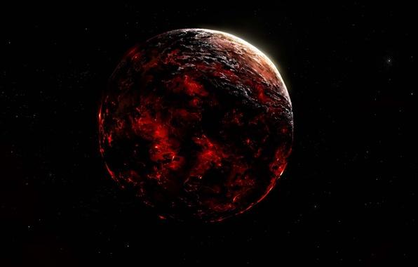 Картинка космос, пространство, огонь, планета, арт, разрушение, лава, Alberto Vangelista