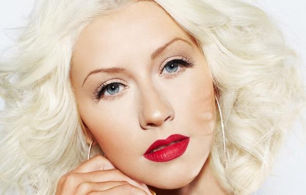 Картинка девушка, лицо, макияж, блондинка, губы, певица, Christina Aguilera, знаменитость, Кристина Агилера